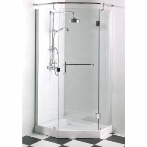 A Luxury `Frameless Pentangle` shower cubicle  in stock  in the UK   featuring -  - Pivot Door with