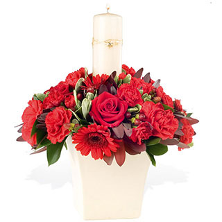 Round posy arrangement in a raised ceramic vase red germini rosesspray carnations hypericum and leuc - CLICK FOR MORE INFORMATION