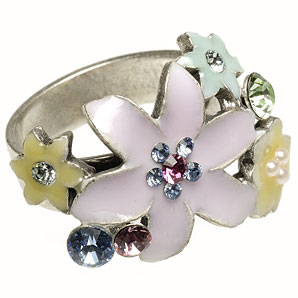 Buy Silver Plated Cluster Ring Pilgrim
