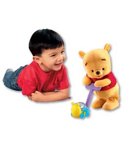 Baby Pooh encourages kids to help him walk slowly and then faster while pushing his popping bumble