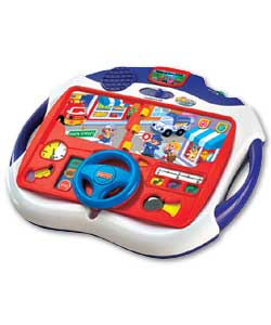 Get motoring with the driving adventure kit featuring interactive story book and car sounds, or