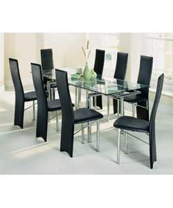 Savannah Extending Glass Dining Table And 8 Chairs Dining Table Review Com