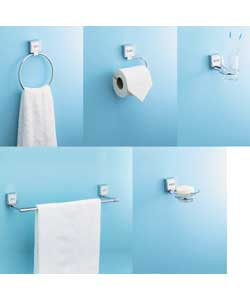 Comprises towel rail, towel ring, toilet roll holder, toothbrush holder with glass tumbler, and