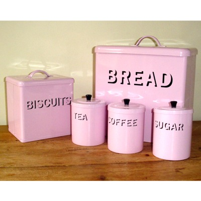 shabby chic pink enamel bread bin set kitchen accessorie
