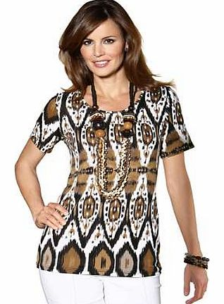 Unbranded Short Sleeve Ethnic Print Top