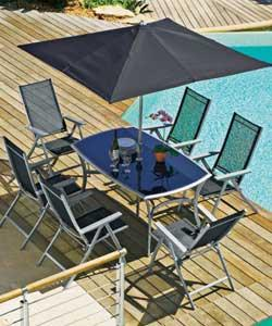 Sicily 6 Seater Black Patio Set Inc Express Delivery Garden Furniture Review Compare