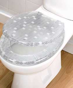 Metallic silver patterned seat and lid. Polyresin