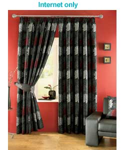 3-Layer Modern Black Burgundy Red Flock Satin Curtain Set with