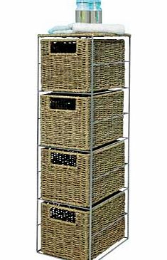 Get the natural look with this tall sleek storage tower with four seagrass baskets and contrasting silver metal frame. Made from rattan effect. 4 drawers. Size H65. W18. D24cm. Manufacturers 5 year guarantee. EAN: 8330514. - CLICK FOR MORE INFORMATION