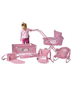 Sliver Cross First Pram And Pretty Pink Baby Play Set