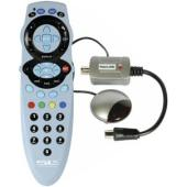 Transmits the remote control signal from a secondary location to a Sky and Sky  digital satellite re