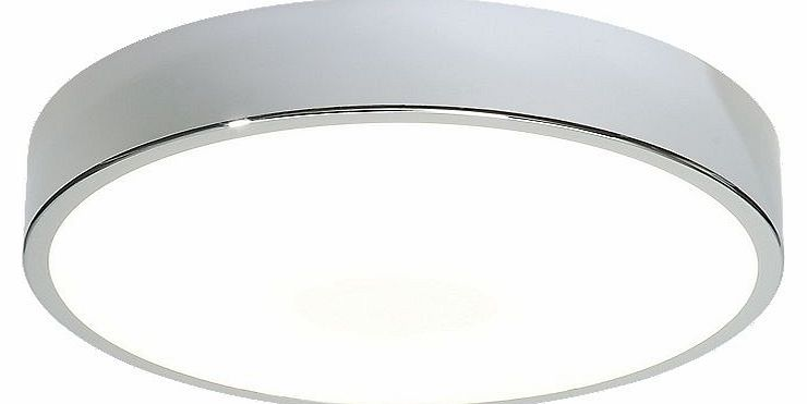 Steel and acrylic, flush mounted ceiling light. Features: IP44; Zone 2; Contemporary; Max. 28W; Low Energy; Model No: 50150. Specifications: 240V. W x D x H: 300 x x 78mm. Transformer included. This luminaire is compatible with bulbs of the energy cl