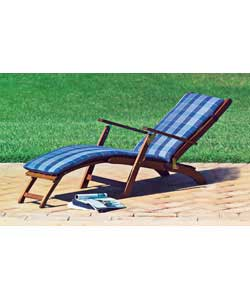 Dark brown multi position lounger.6 positions.Includes fixed foot rest. Folds for easy storage. Cush - CLICK FOR MORE INFORMATION