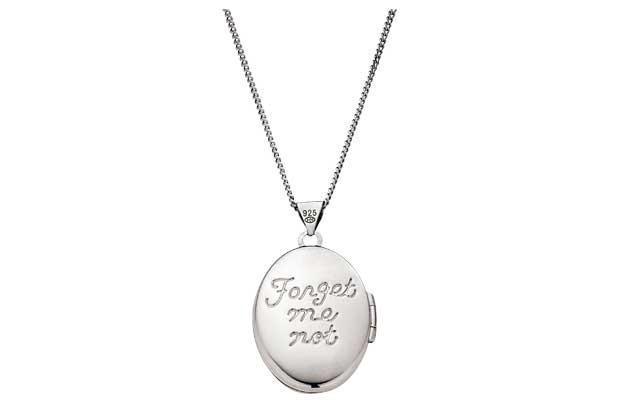 A solid curb chain holds a locket with Forget me not engraved on the back. Sterling silver. Cubic zirconia set pendant. Length of necklace 46cm/18in. Pendant size H21