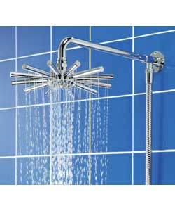 Star shaped shower head. 1 spray pattern. All directional ball joint. Chrome plated brass arm with