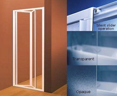 This shower door consists of two identical parts connected by a folding hinge and is suitable for en