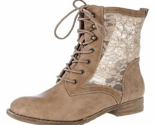 Taupe Lace Tie Up Boots Give a feminine flair to your wardrobe with these lace design tie up boots. Wear with skinny jeans and a fuzzy knit or try with a skater skirt and waterfall cardigan. - Lace design - Tie up style - Block heel - Upper: Other, L