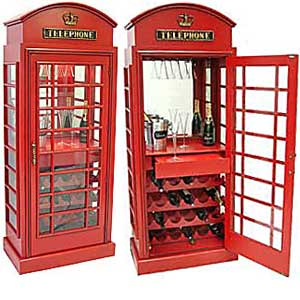 Telephone Box Wine Cabinet Contemporary Furniture Childrens Gift