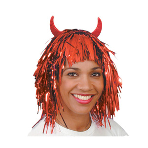 This glittery tinsel wig is great fun for the office or party.  Those devil horns say it all. Great - CLICK FOR MORE INFORMATION