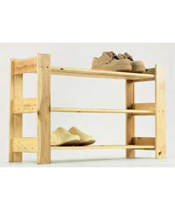 Unfinished Pine 3 Shoe Rack product image