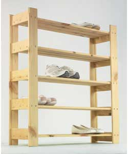 Unfinished Pine 5 Shelf Shoe Rack product image