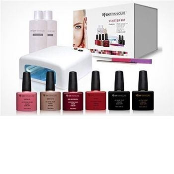 Designed for long-lasting manicures at home, this gel starter kit contains all the essentials needed for pretty nails, from the UV drying lamp to polishes and files. A base coat and top coat is included in the set as well as six coloured gel polishes