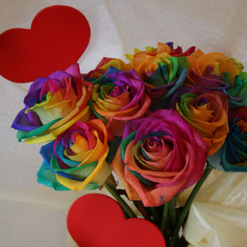 Eros - The Roman God of LoveA crazy in love bouquet of a dozen Happy Roses, the fantastic colours of