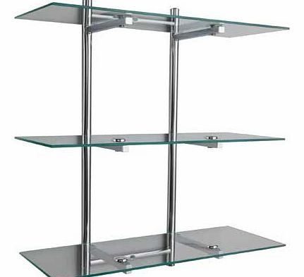Chromed rack with 3 glass shelves. Complete fixtures and fittings. Size (W)32, (D)22.5, (H)64cm