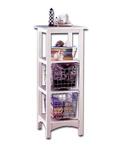 White solid wood frame with 1 shelf and 2 chrome w