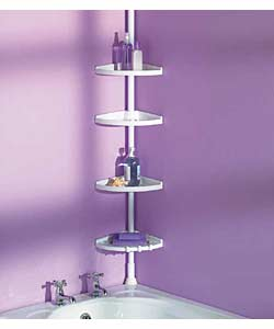 White metal pole and 4 adjustable plastic shelves. Designed to fit from ceiling to floor, or from