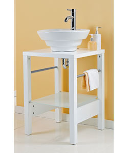 Sink Diameter 45cm.Wooden top shelf, tempered frosty glass bottom shelf.(W)50, (D)50, (H)105cm.Inclu