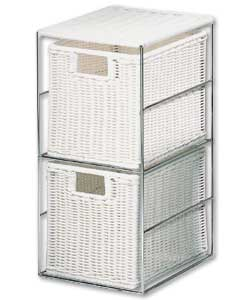 White rattan effect drawers with a chromed metal frame. Size (W)17, (D)20, (H)33cm