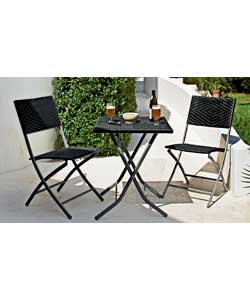 Unbranded Wicker Effect Folding Bistro Set on wicker garden furniture uk