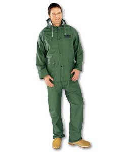 Waterproofs which consist of dungarees and jacket with hood. Lightweight and comfortable to wear