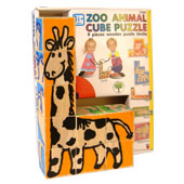 Wooden puzzle blocks to build and create six different zoo animals