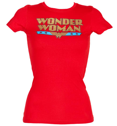 Urban Species Ladies Gold Foil Retro Wonder Woman Logo T-Shirt product image