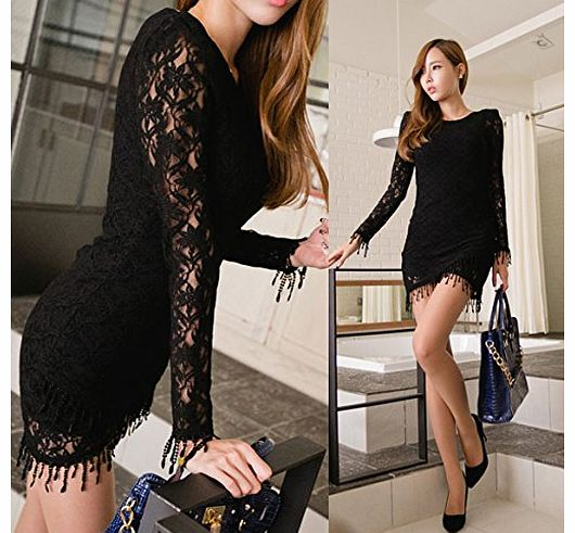 Vakind Womens Long Sleeve Round Neck Sexy Clubwear Party Cocktail Lace Mini Dress (Black) product image