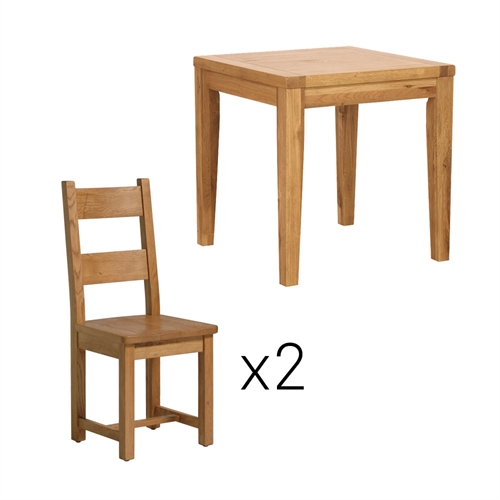 Vancouver Oak Small Dining Set With Ladderback Salisbury Extension Table Chairs