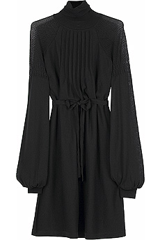 Black long sleeve knitted dress with polo neck and contrast knit ...