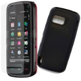 Vanguard Tech Shock resistant Nokia 5800 Xpressmusic Black Silicone Skin Case and screen protector pack