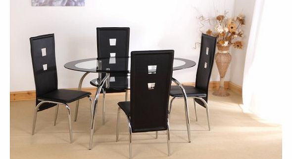 oval dining table : varezze black oval glass dining contemporary table set and with 4 faux leather chairs from www.comparestoreprices.co.uk size 590 x 322 jpeg 23kB