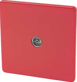Varilight, 1228[^]14669 1-Gang Coaxial TV Socket Claret Red