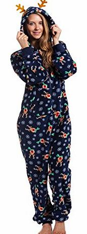 Womens Christmas Fun Super Soft Cosy Onezee Onesies Gown With Hood Gift For Her (L/XL, Navy Reindeer)