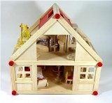 complet dolls house FREDA with furniture and family from wood
