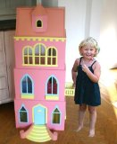 Gigantic dolls house VILLA ROSA wood decorated 130cm