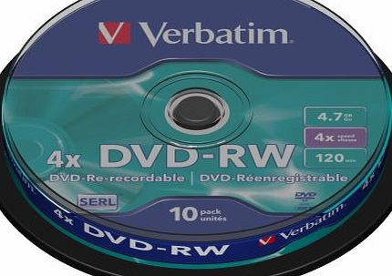 Verbatim 43552 4x DVD-RW - Spindle 10 Pack product image