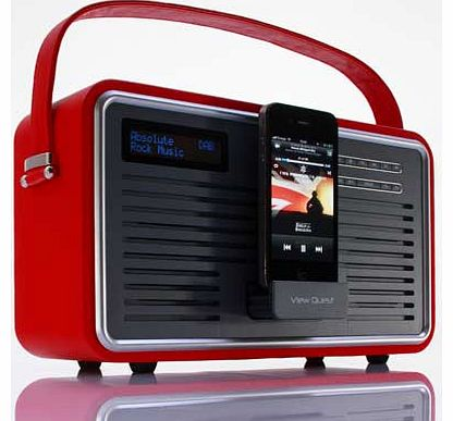 Retro DAB Radio with iPhone Dock - Red
