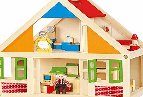 Wooden Dolls House with 24 pieces of Furniture #56254A