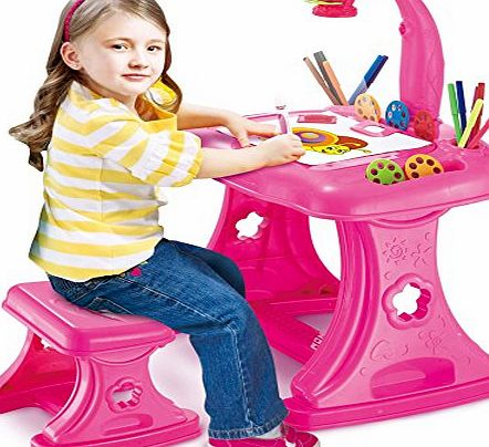 Childrens Projector Colouring and Learning Activity desk and Easel with stool