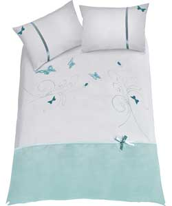 Butterflies Duck Egg Duvet Set - Single